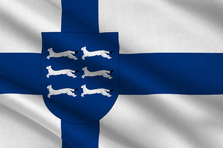 suomi: Flag Of Northern Ostrobothnia is a region of Finland. 3d illustration