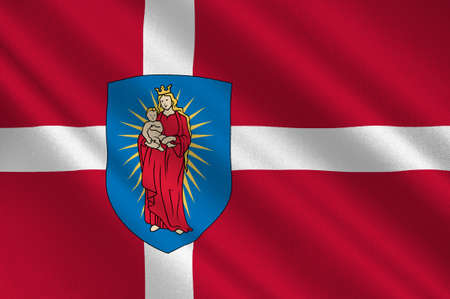 danish flag: Flag of Thisted is a municipality in Region Nordjylland in Denmark. 3d illustration
