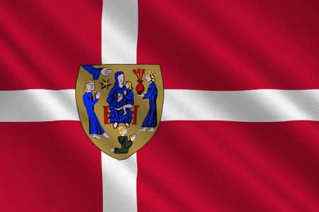 danish flag: Flag of Ringsted is a municipality in Denmark in Zealand Region. 3d illustration Stock Photo