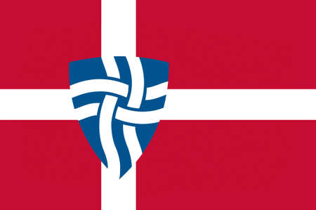 danish flag: Flag of Mariagerfjord is a municipality in Region Nordjylland in Denmark. 3d illustration Stock Photo