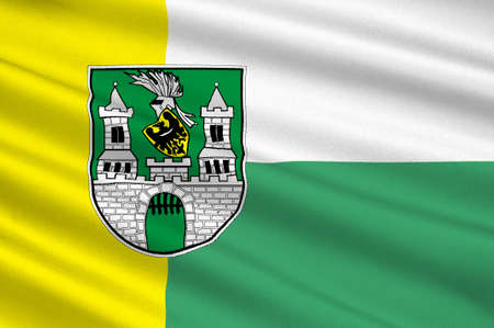 Flag of Zielona Gora city in Lubusz Voivodeship in western Poland. 3d illustration