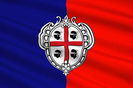 Flag of Cagliari is an Italian municipality and the capital of the island of Sardinia, an autonomous region of Italy. 3d illustration Stock Photo