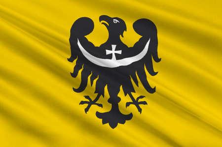 bandera de polonia: Bandera de Baja Silesia Baja Silesia Province o en Polonia. 3d ilustración