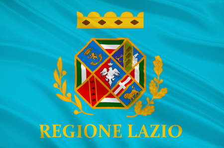 Flag of Lazio is one of the 20 administrative regions of Italy. 3d illustration Stock Photo