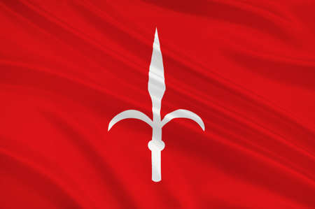 julie: Flag of Trieste is a city and seaport in northeastern Italy. 3d illustration Stock Photo