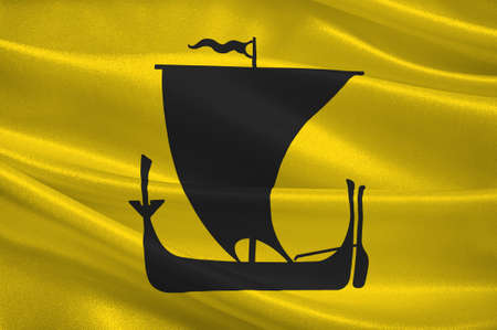 bode: Flag of Nordland is a county in Norway in the Northern Norway region. 3d illustration Stock Photo