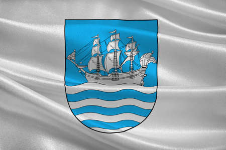 norway flag: Flag of Arendal is a town and municipality in the county of Aust-Agder, Norway. 3d illustration Stock Photo