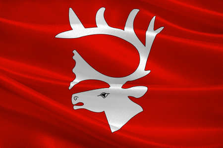 oslo: Flag of Vadso is a municipality in Finnmark County, Norway. 3d illustration Stock Photo