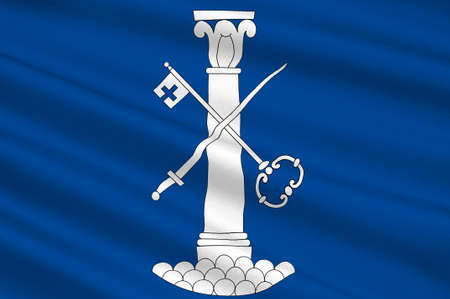 Flag of Drammen is a city in Buskerud, Norway. 3d illustration