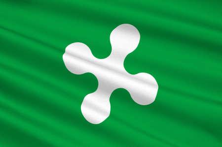 롬바르디아의 국기는 국가의 북서쪽에, 이탈리아의 스물 행정 지역 중 하나입니다. 3D 그림