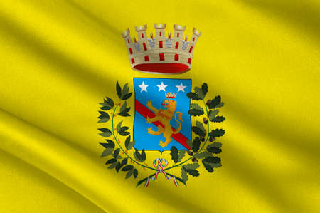 Flag of LAquila is a city and comune in Central Italy of the Province of LAquila. 3d illustration