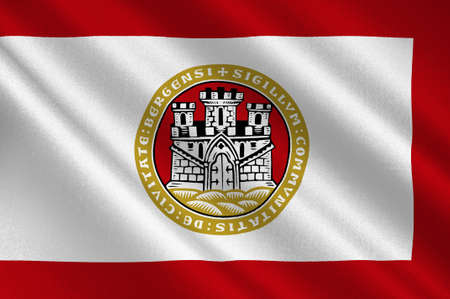 norway flag: Flag of Bergen is a city and municipality in Hordaland on the west coast of Norway. 3d illustration Stock Photo