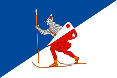 Flag of Lillehammer is a town and municipality in Oppland county, Norway. 3d illustration Stock Photo
