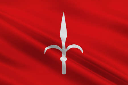Flag of Trieste is a city and seaport in northeastern Italy. 3d illustration Stock Photo