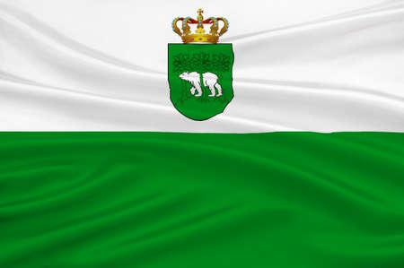 Flag of Chelm city in Lublin Voivodeship in southeastern Poland. 3d illustration