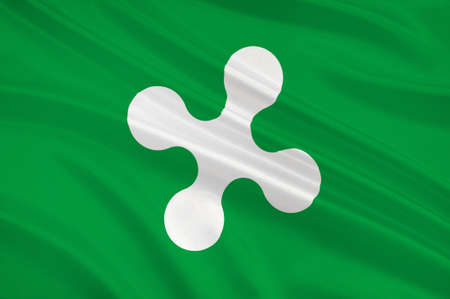 Flag of Lombardy is one of the twenty administrative regions of Italy, in the northwest of the country. 3d illustration