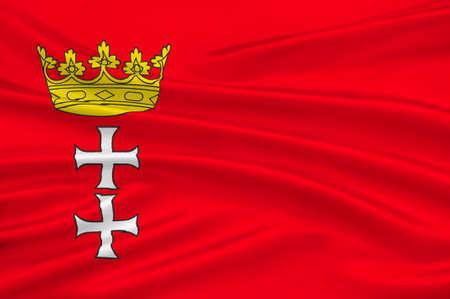 gdansk: Flag of Gdansk is a city in Poland. 3d illustration