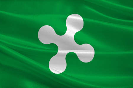 lombardy: Flag of Lombardy is one of the twenty administrative regions of Italy, in the northwest of the country. 3d illustration