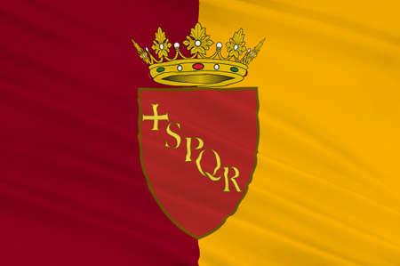 spqr: Bandera de Roma es una ciudad y comuna especial en Italia. Roma es la capital de Italia y de la región de Lazio. 3d ilustración