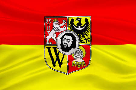 Flag of Wroclaw is the largest city in Poland. 3d illustration