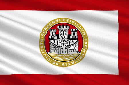Flag of Bergen is a city and municipality in Hordaland on the west coast of Norway. 3d illustration Stock Photo