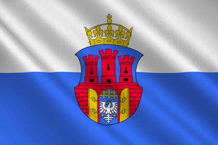 krakow: Flag of Krakow also Cracow of the oldest cities in Poland. 3d illustration Stock Photo