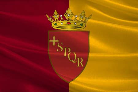 Bandera de Roma es una ciudad y comuna especial en Italia. Roma es la capital de Italia y de la región de Lazio. 3d ilustración