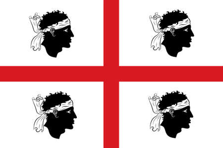 sardinia: Flag of Sardinia is the second-largest island in the Mediterranean Sea and an autonomous region of Italy. 3d illustration