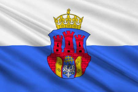 bandera de polonia: Bandera de Cracovia Cracovia también de las ciudades más antiguas de Polonia. 3d ilustración