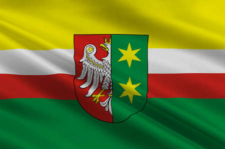 Flag of Lubusz Voivodeship or Lubuskie Province in western Poland. 3d illustration