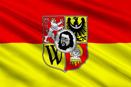 flagstaff: Flag of Wroclaw is the largest city in Poland. 3d illustration