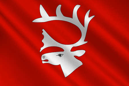 norway flag: Flag of Vadso is a municipality in Finnmark County, Norway. 3d illustration Stock Photo