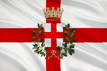 밀라노의 국기는 이탈리아에서 두 번째로 인구가 많은 도시이자 롬바르디아의 수도입니다. 차원 그림