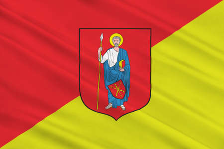 Flag of Zamosc city in Lublin Voivodeship in southeastern Poland. 3d illustration