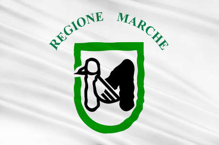 Flag of Marche is one of the twenty regions of Italy. 3d illustration