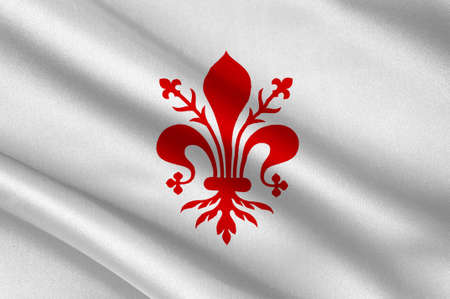 Flag of Florence is the capital city of the Italian region of Tuscany and of the Metropolitan City of Florence in central Italy. 3d illustration