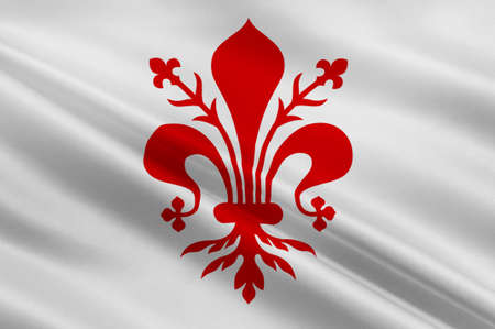 livorno: Flag of Florence is the capital city of the Italian region of Tuscany and of the Metropolitan City of Florence in central Italy. 3d illustration