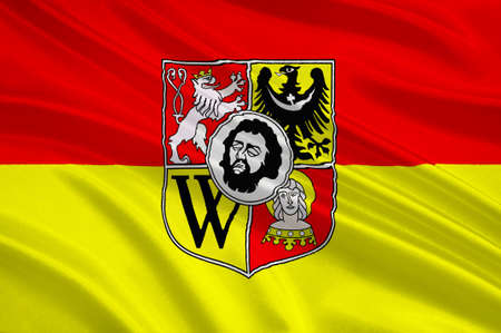 wroclaw: Flag of Wroclaw is the largest city in Poland. 3d illustration