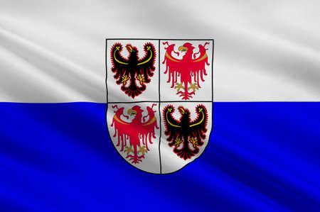 Flag of Trentino-Alto Adige Sudtirol is an autonomous region in Northern Italy. 3d illustration Stock Photo