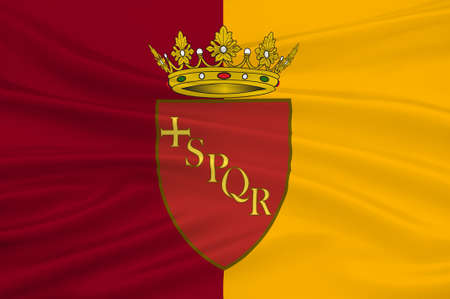 spqr: Flag of Rome is a city and special comune in Italy. Rome is the capital of Italy and of the Lazio region. 3d illustration Stock Photo