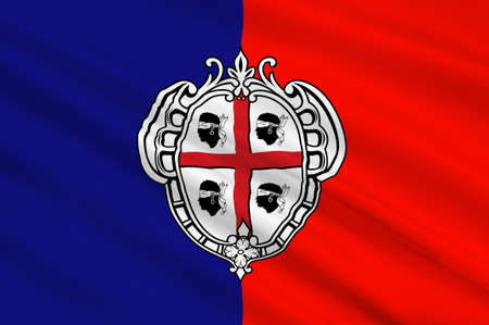 sardinia: Flag of Cagliari is an Italian municipality and the capital of the island of Sardinia, an autonomous region of Italy. 3d illustration Stock Photo