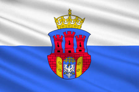 Flag of Krakow also Cracow of the oldest cities in Poland. 3d illustration Stock Photo
