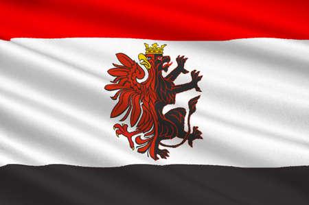 Flag of Kuyavian-Pomeranian Voivodeship or Kujawy-Pomerania Province in Poland. 3d illustration Stock Photo