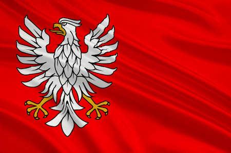 Flag of Masovian Voivodeship or Mazovia Province in eastern Poland. 3d illustration
