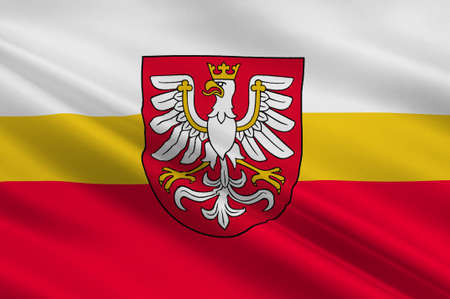 Flag of Lesser Poland Voivodeship or Malopolska Province in southern Poland. 3d illustration