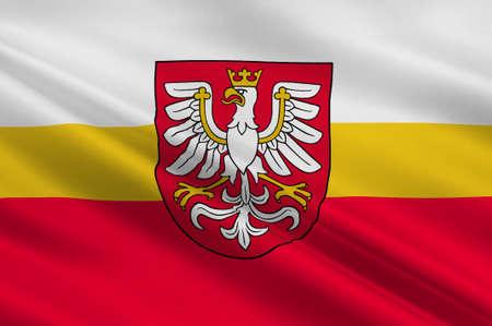 Flag of Lesser Poland Voivodeship or Malopolska Province in southern Poland. 3d illustration
