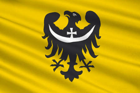 wroclaw: Flag of Lower Silesian Voivodeship or Lower Silesia Province in Poland. 3d illustration
