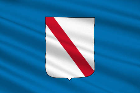 Flag of Campania is a region in southern Italy. 3d illustration Stock Photo