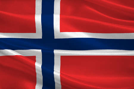 peninsula: Flag of Kingdom of Norway, is a sovereign and unitary monarchy of the Scandinavian Peninsula. 3d illustration