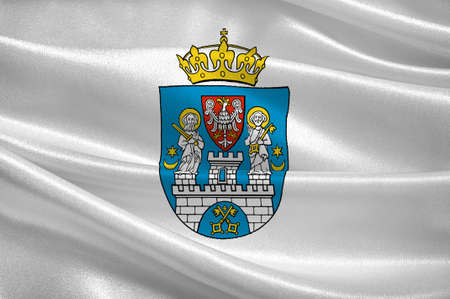 Flag of Poznan is a city in west-central Poland. 3d illustration Stock Photo
